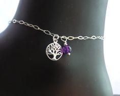 Tree Of Life Birthstone Ankle Bracelet, Celtic Ankle Bracelet, Birthstone Jewelry, Sterling Silver Jewellery, Eternity Anklet, Vegan Anklet by WaterRhythmGems on Etsy