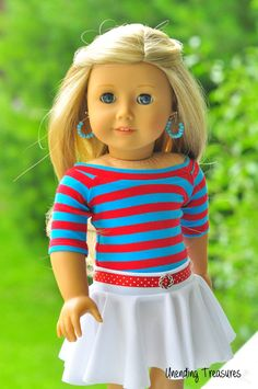 American Girl doll clothes, 18 inch doll clothes, red and blue striped boatneck top, white skater skirt with a red belt, and earrings