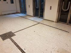 Vi har levert og utført: Terrazzofliser (HT Calacatta) på gulv i fellesarealer og elementer i trapper  Omfang: 500m2  Tidsperiode: 2013 Trondheim, Terrazzo, Tile Floor, Flooring, Tile Flooring, Wood Flooring, Floor