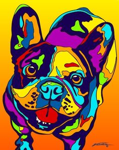 Multi-Color French Bulldog Matted Prints & Canvas Giclées. Hand painted and…