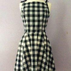 A side zip fastens the dress and satin ribbon provides the bow detail. M - Bust Waist Black Lace Bra, Black Silk, Audrey Hepburn Inspired, White Polka Dot Dress, White Dress, Pinafore Dress, Gingham Check, Retro Look, Retro Dress