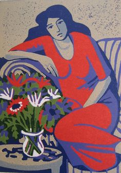 The bouquet, beautiful linocut by Mo Lancaster