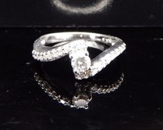 14K White Gold 0.35cttw Round Diamond Engagement Ring Sz 5.25 #SolitairewithAccents