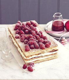 Raspberry Millefeuille via Gourmet Traveller recipe Millefeuille Rezept, Cupcakes, Recipe Search, Serving Platters, Creme, Sweet Tooth, Dessert Recipes, Dessert Food, Sweet Treats
