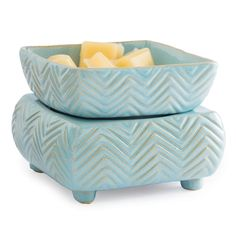 Wax Warmer with Dish - Blue Chevron