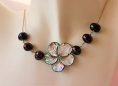 Carved Black Shell Mother of Pearl Plumeria Necklace with Freshwater Pearls by fortheloveofplumeria on Etsy