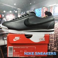23a0b6c8 2018 Newest Original Nike Classic Cortez 72 Mens Running Shoes 881205-100  Black Leather nikecortez2017