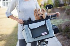 Bring your dog or pet along on a leisurely bike ride with the Snoozer Dog Bicycle Basket. This patented bike basket provides a safe and comfortable place for your dog to enjoy your company while you ride together. Dog Bike Seat, Dog Bike Basket, Dog Car Seats, Bike Baskets, Bicycle Seats, Cozy Cave Dog Bed, Dog Cave, Biking With Dog, Dog Carrier