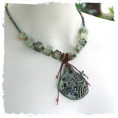 Boho short necklace - Rustic pendant necklace - Raw stone necklace - Urban primitive necklace - Sage green necklace - Prehnite necklace by rocksandpaperswans on Etsy https://www.etsy.com/listing/227854500/boho-short-necklace-rustic-pendant