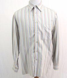 Ermenegildo Zegna Shirt Large Colorful Diamond Starburst Art Deco Striped Cotton #ErmenegildoZegna #ButtonFront