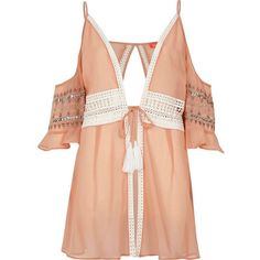 River Island Pink crochet lace trim beach cover up (570 MXN) ❤ liked on Polyvore featuring swimwear, cover-ups, pink, holiday shop, sale, women, cover up swimwear, pink camisole, pink cami and lace trim camisole