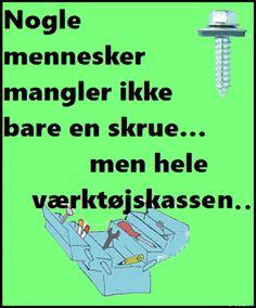 Mangler en skrue. Minions Love, Minion Jokes, Have A Laugh, Funny Signs, Slogan, Haha, Bog, Memes, Life