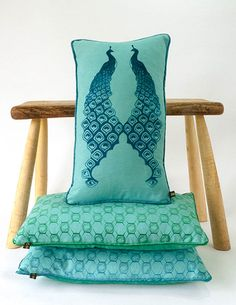 Katie Wallis Hothouse, Wallis, Flocking, Screen Printing, Bee, Cushions, Textiles, Throw Pillows, Contemporary
