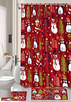 ce9a0c0ef63036580df0d0996b50ecfe curtain store shower rings jpg Season s Greetings 15 Piece Shower Curtain Bath Set 1 Rug