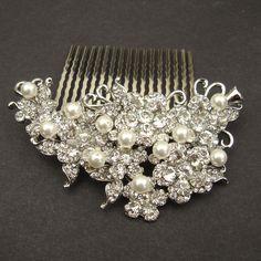 Victorian Rhinestone Wedding Hair Comb, Crystal Bridal Hair Accessory, Ivory White Pearl Bridal Head Piece, Vintage Bridal, ARIANA. $82.00, via Etsy.