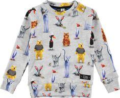 Molo Mickay - Real Comic 2016 - long sleeve grey melange sweatshirt with cartoon print - molo animals