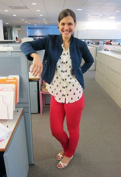red jeans, polka dot top and navy jacket
