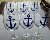 Anchor wine glasses, 6 nautical themed wedding or boat wine glasses