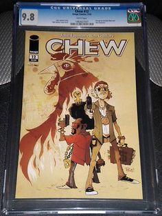 Chew #12 Graded 9.8 Mint by CGC. Tony Chu is a cop with a secret. A weird secret. Tony Chu is Cibopathic, which means he gets psychic impressions from whatever he eats. It also means he's a hell of a detective, as long as he doesn't mind nibbling on the corpse of a murder victim to figure out whodunit, and why. This particular issue features the killer cock POYO who just recently got his own comic book series. Chew is in the works to become the next hit TV series!!