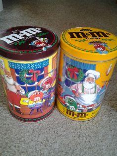 M&M's PLAIN & PEANUT CANDIES 1994 SANTA CLAUS COLLECTOR LIDDED STORAGE TINS PAIR #MMs