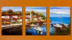 Art Hand Painted Modern Abstract Oil Painting on Canvas Italian Habor Seashore 3 Piece Wall Art Deco Home Decoration Mediterranean Sea 3 Pic/set Stretched Ready to Hang Hand Painting Art, Wall Art Canvas Painting, Art Painting Oil, Boat Painting Canvas, Modern Canvas Art, Painting, Canvas Painting, Boat Painting, Large Landscape Painting
