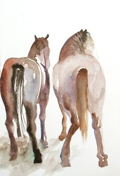 Original Watercolor  Horses by FluidColors on Etsy