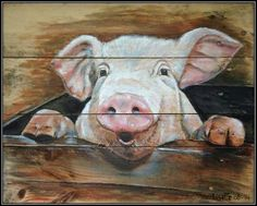 Cow Painting, Pallet Painting, Pallet Art, Pig Art, Farm Art, Animal Paintings, Painting Inspiration, Wood Art, Art Projects