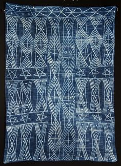 Africa | Woman's wrap (skirt) from the Dogon people of Mali | 20th century | Indigo resist dyed cotton plain weave | Unusual piece as most of the Dogon skirts are usually only tie dyed dots
