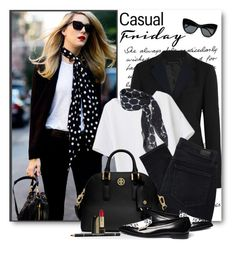 """""""Casual Friday in Black & White"""" by brendariley-1 ❤ liked on Polyvore featuring Theory, DKNY, Paige Denim, Tory Burch, Nicholas Kirkwood, STELLA McCARTNEY, Lancôme and Givenchy"""