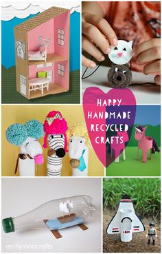 A few of my favorite eco/recycled crafts, cardboard box dollshouse, felt pad necklaces, sock puppets, toilet roll crafts, a ship in a bottle and so much more // mollymoocrafts