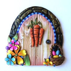 Springtime Easter Bunny Door Polymer Clay Miniature Fairy Door for Fairy Gardens and Home Handcrafted from Claybykim by Claybykim on Etsy