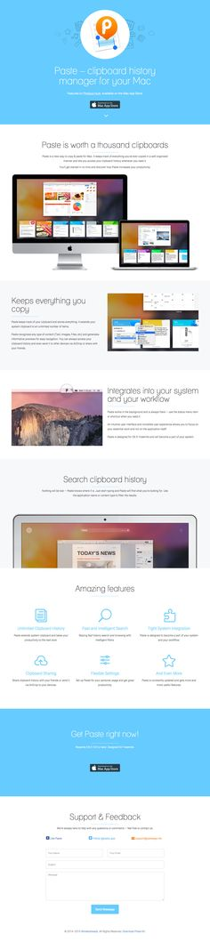 Clean responsive One Pager for 'Paste' - a new clipboard history manager for your Mac.