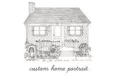 Custom Home Portrait - Pen & Ink. $100.00, via Etsy.