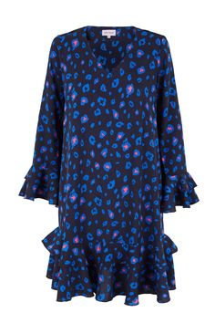 Vestido de volantes animal print TERIA YABAR Otoño Invierno 2019 2020 Bell Sleeves, Bell Sleeve Top, Color Azul, Animal, Tops, Women, Fashion, Patterned Dress, Templates