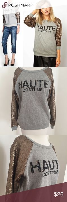 Haute Costume Sequin Sweatshirt✨ Haute Costume Sequin Sweatshirt from Mango Jeans✨ this sweatshirt is in amazing condition and is perfect for fall the size says XXS but will fit an XS/S, the sweatshirt is oversized for layering it's amazing over some boyfriend jeans Mango Sweaters Crew & Scoop Necks