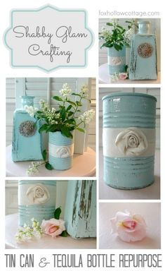 Tin Can Makeover Recycle Repurpose Upcycle Shabby Aqua DIY Craft