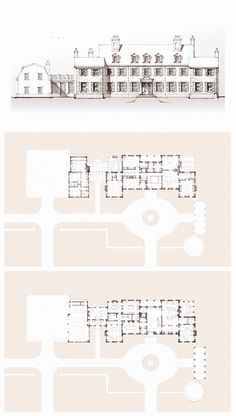 Stone Colonial | John B. Murray Architect Castle Floor Plan, Hotel Floor Plan, House Floor Plans, Vintage House Plans, Modern House Plans, Plan Drawing, Drawing Tips, Architectural Floor Plans, House Furniture Design