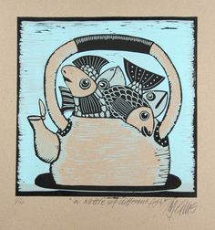Buy A kettle of different fish , linocut reduction, Linocut by Mariann Johansen-Ellis on Artfinder. Discover thousands of other original paintings, prints, sculptures and photography from independent artists.