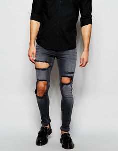 """Jeans by ASOS Stretch denim Dark wash Regular rise Zip fly Distressed legs Extreme supper skinny fit - cut closest to the body Machine wash 99% Cotton, 1% Elastane Our model wears a 81cm/32"""" regular and is 183cm/6'0"""" tall"""