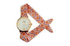 Vente MENTHE À L'EAU / 26028 / Femme / Montres bracelet tissu / Montre à quartz en tissu - Violet et doré rose