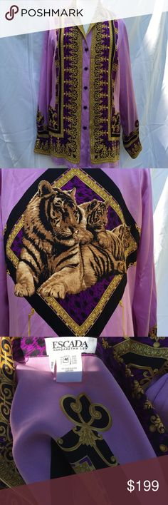 Escada tiger silk lilac purple notched collar, LS Silk Stunning tiger print on back, notched collar, long sleeve purple, lilac, gold and black mint condition! Escada Tops Blouses