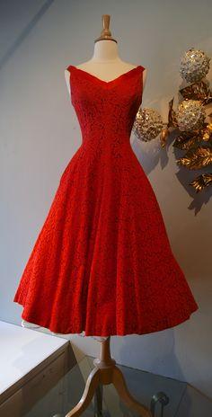 vintage dress / 50s Jonny Herbert red lace party dress