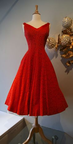 What a great Christmas Dress!  vintage dress / 1950s Jonny Herbert red lace party dress