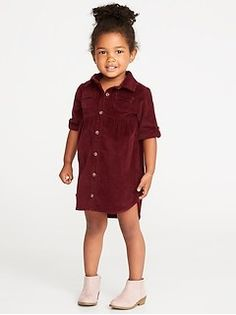 Corduroy Shirt Dress for Toddler Girls Baby outfits that are funny, the perfect baby stuff for gift ideas or baby showers. Ideas for organic, neutral baby clothes that are perfect for new moms or busy moms on the go. Old Navy Toddler Girl, Toddler Girl Outfits, Toddler Fashion, Toddler Dress, Kids Outfits, Kids Fashion, Baby Outfits, Womens Fashion, Trendy Baby Boy Clothes