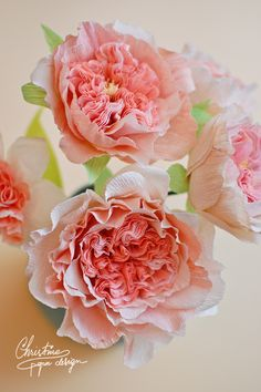 Juliet garden roses made from paper. Paper coral flowers.