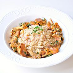 risotto with beer, chanterelles and bacon