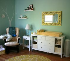 "Paint color Benjamin Moore Natural paint in Robin's Nest. It's a very soothing color."" Love the yellow and aqua together"