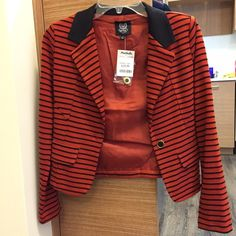 SALE! Reddish orange striped blazer Never work and new with tags!  Great for work or business formal event. Can also pair with a tank top for going out!  Juniors small.  Just trying to recover close to the cost! Jackets & Coats Blazers