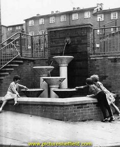 Fountain made from grindstones, Netherthorpe Flats, off Jericho Street Sheffield City, Local History, My Town, Coventry, Yorkshire, Old Photos, Fountain, The Past, Old Things