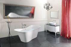Koupelnový nábytek SALMA ve vintage stylu s precizním provedením, dolněný vanou FLORA od firmy POLYSAN. Více informací najdete na http://www.sapho-koupelny.cz/cz/salma .
